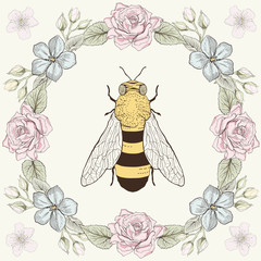 Floral frame and bee in engraving style