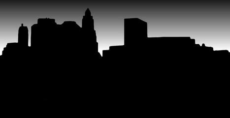 Lower Manhattan silhouette on white  black  background