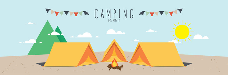 illustration vector of a campsite. (Day)