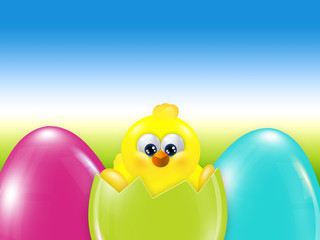 easter chick  hatched from egg over blue sky