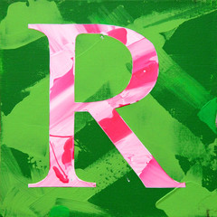 Letter R, paint on canvas, bright picture, texture