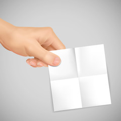 business concept: 3d hand holding a note paper