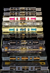 Tape side of old plastic cassette tapes