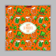 cute orange card for St. Patrick`s Day