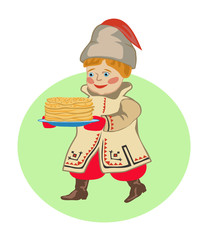 Boy in  national clothes  with pancakes. A Shrovetide.