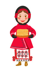 Girl in  national clothes  with pancakes. A Shrovetide.