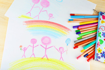 Drawing made by child with colorful pencils