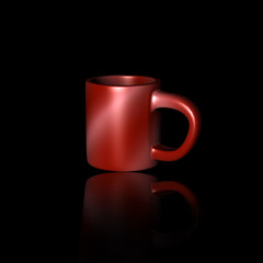 Red Cup at Black Background.