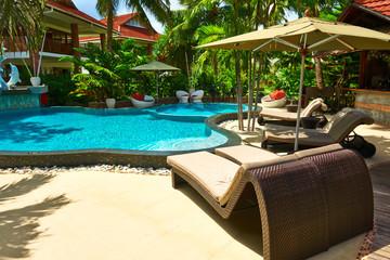 Luxury poolside area