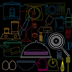 colorful kitchen icons graphic design
