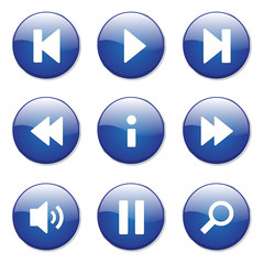Multimedia Controller Blue Vector Button Icon Design Set