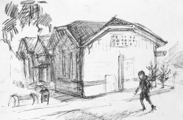 House on street, pencil drawing