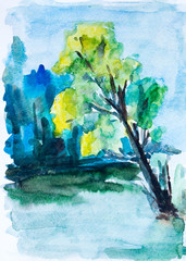 Green forest, watercolor painting