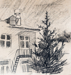 House, pencil drawing