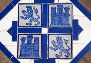 Floor tile with heraldic symbols of Spain