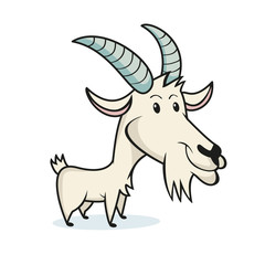 Goat character, cartoon, isolated vector illustration