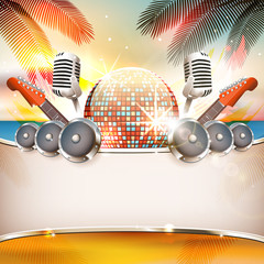 Summer music background with disco ball, speakers, guitar