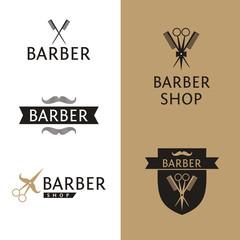 Vector heraldic logo for a hairdressing salon. Set logo for