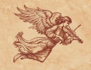 Ангел со скрипкой, графика на старой бумаге.