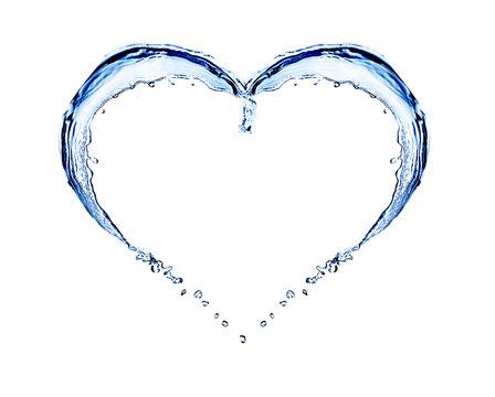 Water splashing shaped as heart frame isolated on white