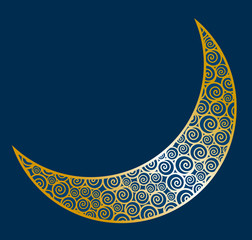 Vector illustration of abstract crescent moon
