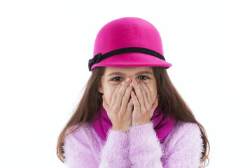 Girl covering her mouth