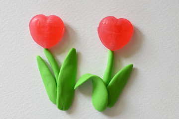 Flower made from plasticine and candy
