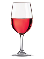 Glass of red wine, isolated. Vector illustration