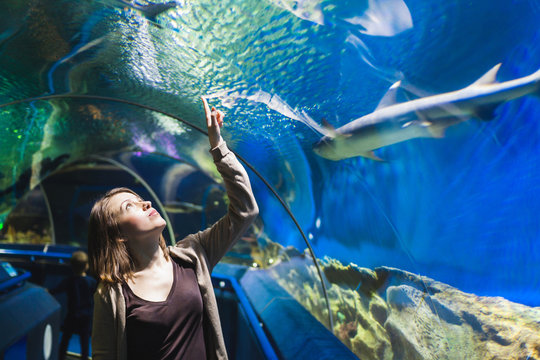 Young girl in aquarium tunnel with sharks