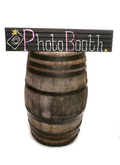 Handmade chalkboard photobooth sign and barrel