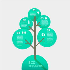Vector green tree sign infographic. Template for diagram, graph