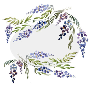 wisteria, wallpaper, watercolor