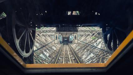 Metallic internal structure of Eiffel Tower in Paris
