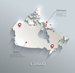 Canada map blue white card paper 3D vector