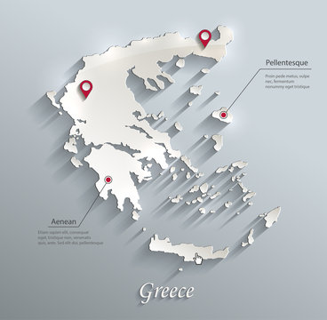 Greece map blue white card paper 3D vector infographics