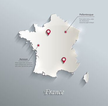 France map blue white card paper 3D vector