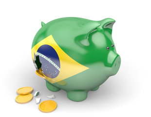 Brazil economy and finance; spending and national debt concept