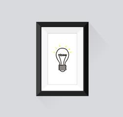 Frame with border for exhibition portfolio. Light bulb idea
