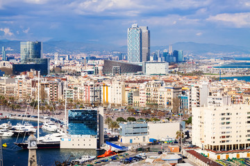 Aerial view of Port Vell and  Barcelona seaside