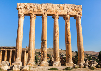 Temple of Jupiter in Baalbek ancient Roman ruins in Lebanon