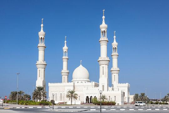 White mosque in Ajman, United Arab Emirates
