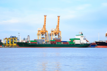 Container cargo freight ship at port