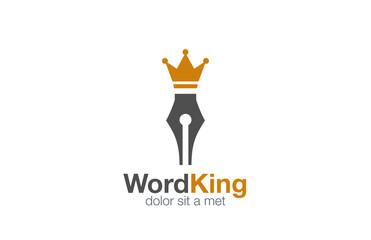 Pen Logo abstract design vector. Writer author Logotype