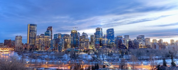 Skyscrapers in the urban core at dusk in Calgary