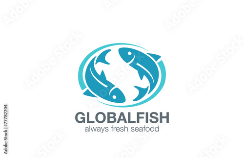 Fish logo design vector infinity fishing concept seafood for The fresh fish company