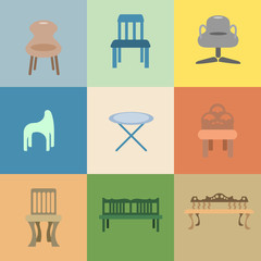 Set of chair vector cartoon