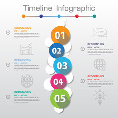 Long Shadow Design clean number timeline template/graphic or web