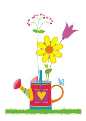 Beautiful bouquet of wildflowers in watering can. Vector.