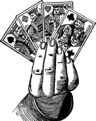 Vintage Illustration hand with cards