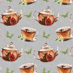 Seamless pattern with cup and teapot. Watercolor illustration.